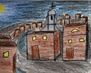 My crayon sketch of Bethlehem at night, Christmas Eve 1994