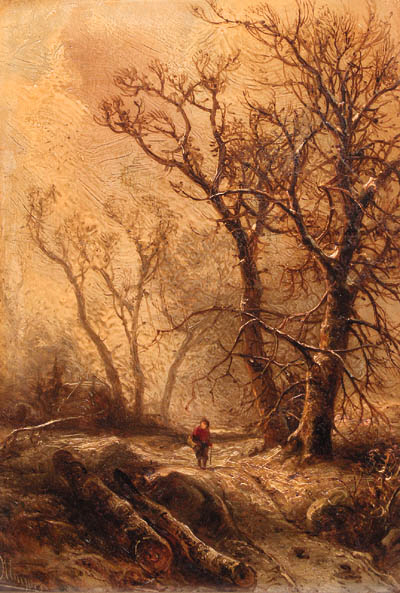 A Forest in Winter by Pieter Lodewijk Francisco Kluyver